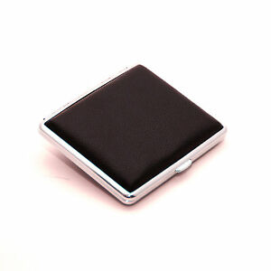 Black-Genuine-Leather-Cigarette-Case-Box-Hold-For-18-Cigarettes-With-Gift-Box