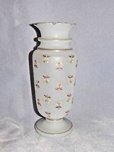 Vintage-Hand-Blown-Painted-Bristol-Footed-Vase-Opaque-Frosted-Glass-9-5-034-TALL