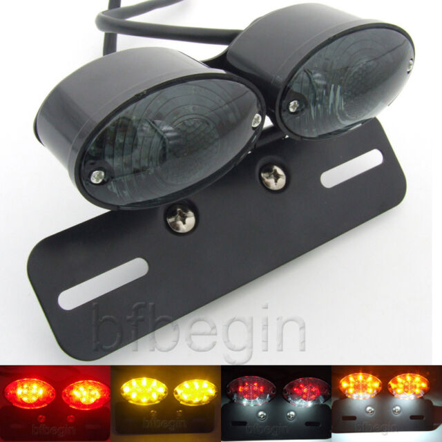 Double Rear Turn Signal LED License Plate Integrated Tail Light For Motorcycles
