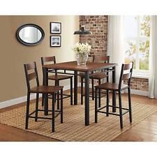 Elegant 5-Piece Tall Counter Height Dining Set, Rustic Dark Modern Nook Dinette