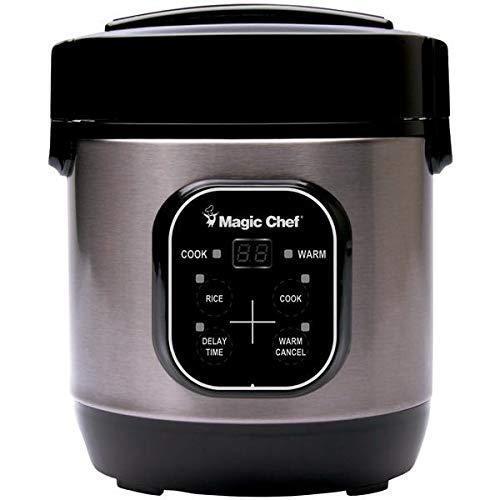 Magic Chef MCSRC03ST 3 Cup Mini Rice Cooker Ss Blk