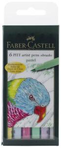 Faber-Castell-Pitt-Artist-Pens-Pastel-Colors-Set-6-Markers-Brush-Tip
