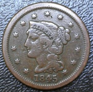 1845 USA - ONE CENT - COPPER - Braided Hair Liberty Head Large Cent - Nice