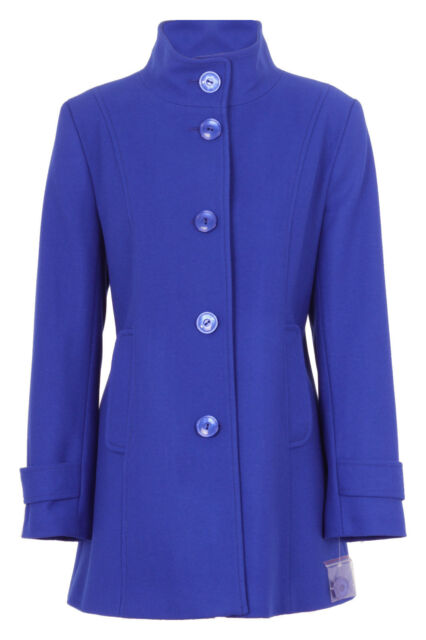 Busy Ladies Royal Blue High Neck Wool Blend Coat