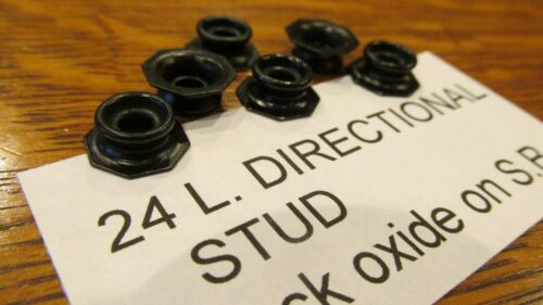 DIRECTIONAL SNAP STUDS Black over Brass 6 pcs Pull the Dot leather snaps Blk.