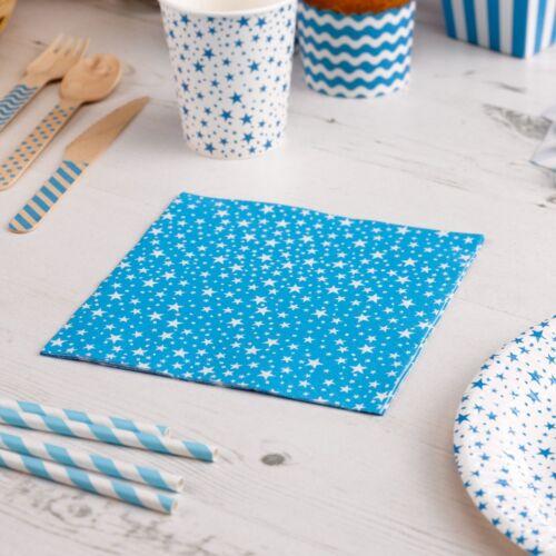 Papierservietten Stars blau 16 St Servietten Hochzeit Hochzeitsservietten