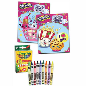 Details About Shopkins Coloring Book Set 2 Activity Books With 24 Crayons Kids Learning New