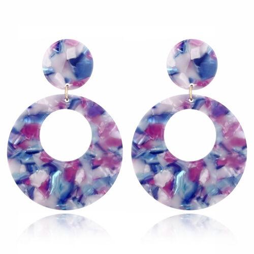 Hollow Geometric Oval Acrylic Long Drop Earrings Women Statement Jewelry Gift Z