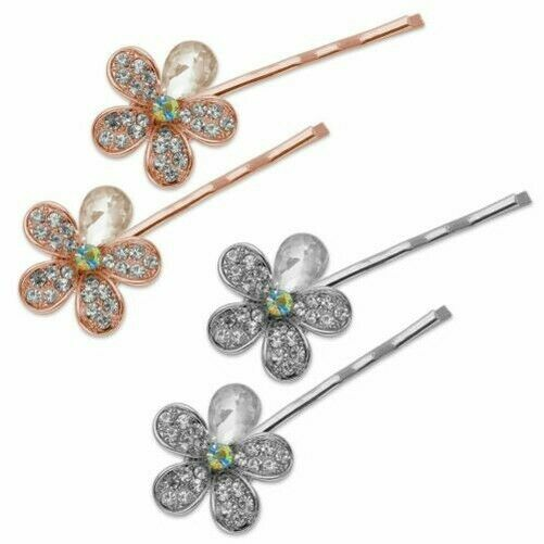1 Pair Hair Clips With Glitter Flower Rhinestone Bloom Silver Rose Gold Bride