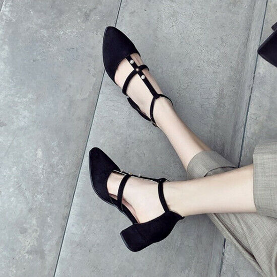 Fashion Ladies Block Heels T-Bar Ankle Strap Pumps Buckle Casual Party shoes NEW