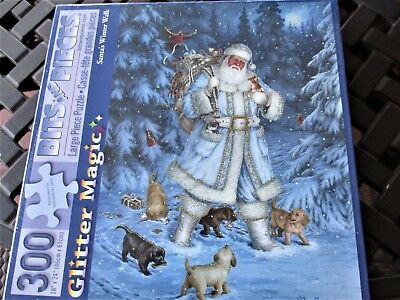"""New 300 Piece Art Puzzle Glitter Magic/""""Santa/'s Winter Walk/"""" Large Format 18/""""x24/"""""""