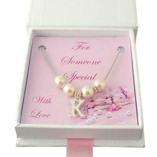 Bridesmaid Pearl necklace with Letter Pendant Gift Flower girl Maid of Honour