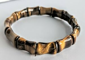 Tigers-Eye-Bead-Bracelet-Stretch-Adjustable-Bamboo-Style