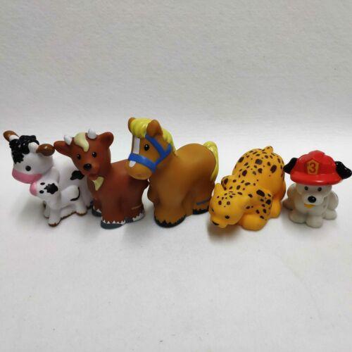 5x Fisher Price Little People Zoo Animais Da Fazenda Vaca Bezerro Cabra Cachorro Cavalo Leopardo