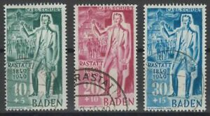 BADEN-FRENCH-OCCUPATION-Mi-50-52-used-stamp-set-CV-132-50