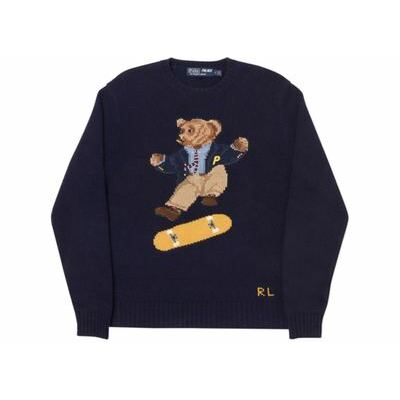 New Polo Ralph Lauren Palace Skate Bear Sweater Crewneck L Aviator Supreme Navy