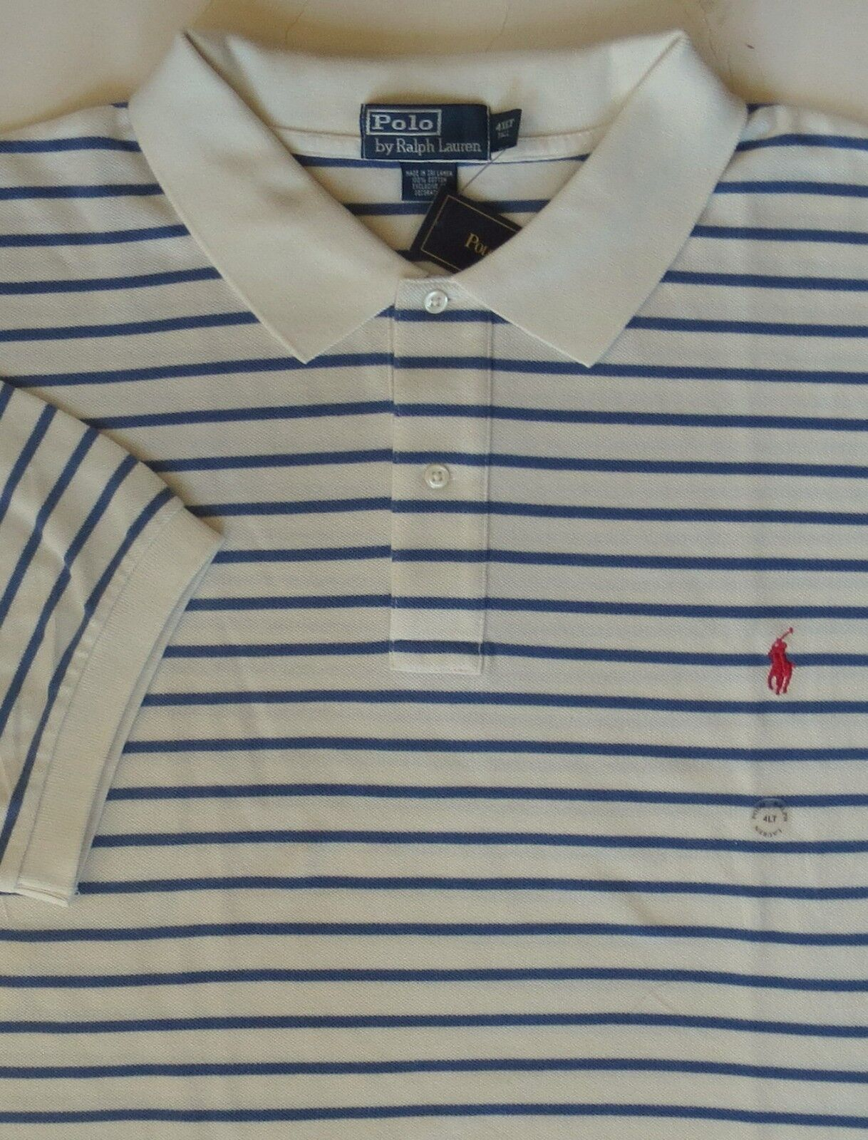 New Polo Ralph Lauren Ivory & bluee Striped Cotton Mesh Polo Shirt   3XLT