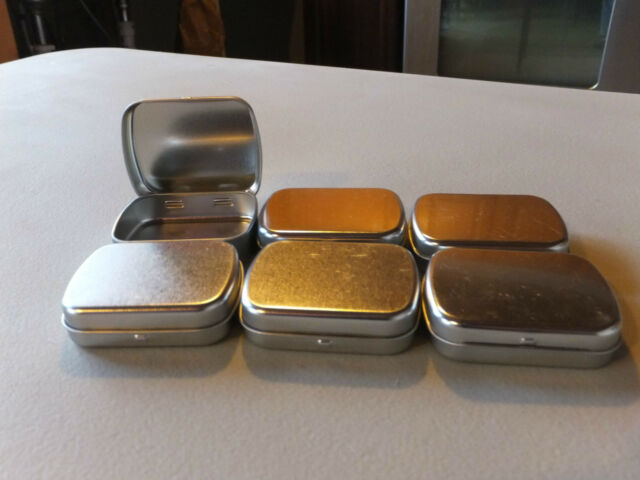 NEW hinged Survival / Crafts Rectangular Metal Tin Container Box lot of six (6)