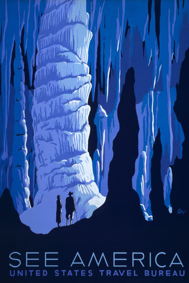 SEE AMERICA UNITED STATES TRAVEL CAVES TOURISM VINTAGE POSTER REPRO