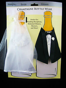 Wedding Bride & Groom Tux & Gown Champagne Wine Bottle Covers NEW FREE SHIPPING