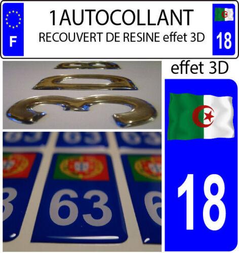 1 sticker plaque immatriculation auto TUNING RESINE DRAPEAU ALGERIE FLOTANT 18