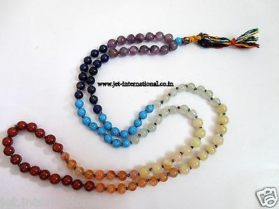 Chakra Japa Mala 6 mm 108 + 1 Prayer Beads Meditation Concentration Healing A++