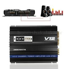 3800 Watt RMS 4 Channel 12V Car Audio Power Amplifier Amp Aluminum Alloy Black