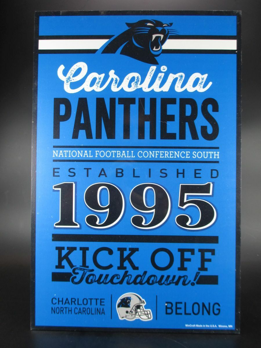 Carolina Panthers Wooden Sign 16 7 8in NFL Football, Established Wood Sign