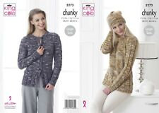 KNITTING PATTERN Ladies Long Sleeve Cable Jumper Hat and Cardigan Chunky 5273