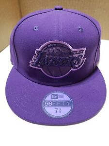 Purple New Era Los Angeles Lakers Triple Threat Fitted Size 8 Hat Cap