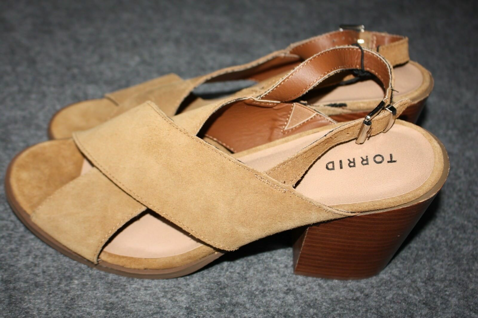 59 Torrid Genuine Suede Crisscross Block Heels Wide Width Brown 12 Wide