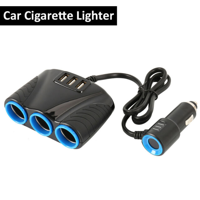 12V 3 Way Car Cigarette Lighter Socket Plug USB In Car Charger Power Adapter New