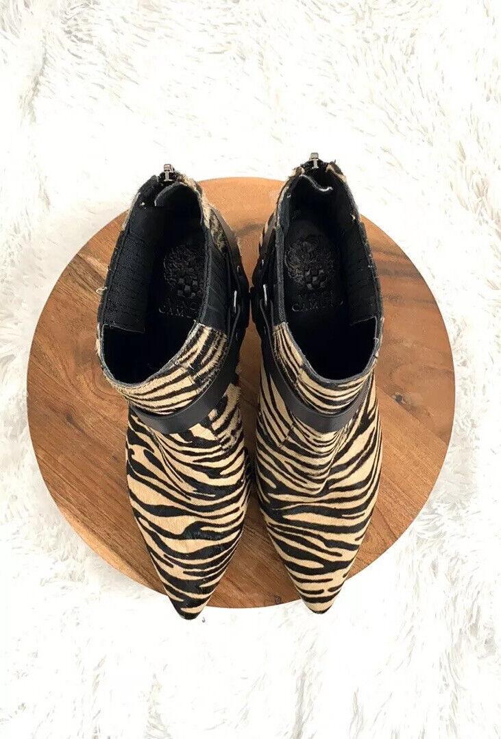 Vince Camuto Black Zebra Pattern Ankle Booties Bo… - image 4
