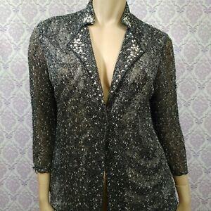 Alberto-Makali-Thin-Knit-Jacket-Cardigan-Womens-Size-L-Studded-Embellished-Gray