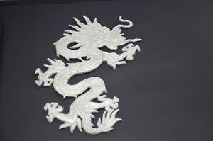SILBER-CHINESISCHER-DRACHE-GROssE-18cm-7-039-bestickt-Naehen-Buegel-Patch-Applikation