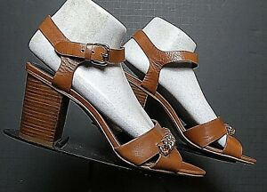 Women-039-s-Coach-English-Tan-Leather-Peep-Toe-Slingback-Ankle-Strap-Heels-8-5B-MINT