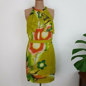 Seduce-Sheath-Dress-SZ-12-Lime-Green-Floral-Ruffle-Neck-Slit-Back-Fully-Lined