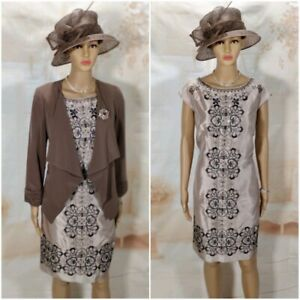 8bec8730787 Details about Gold   Brown Dress   Jacket Wedding Outfit Mother of the Bride  Size 10
