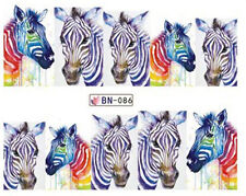 Gradient Zebra Full Wrap Water Transfers Nail Art Stickers Decals Decoration
