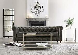 Kingston Restoration Chesterfield Glam Luxe Industrial Hardware Gray