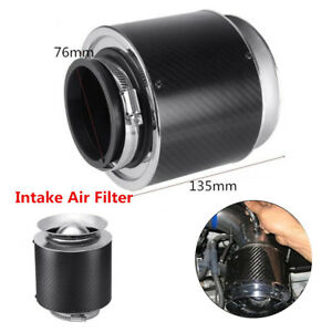 Carbon-Fiber-Exhaust-Muffler-Pipe-Tip-3-034-Inlet-For-Cold-Air-Short-Ram-Intake-Car