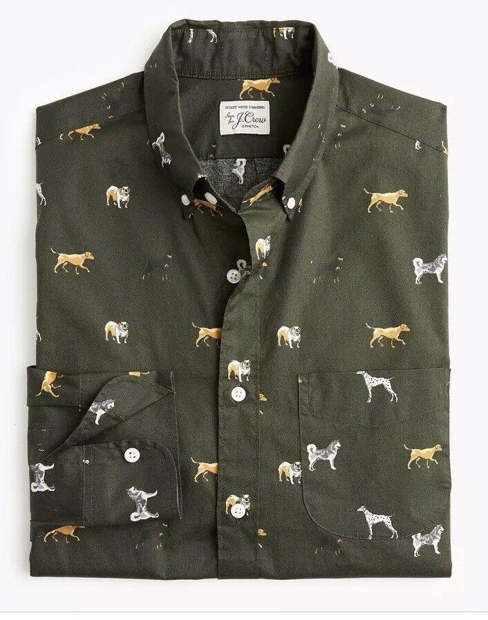 Nwt Stretch Secret Wash Shirt In Dog Doggy Print M Green