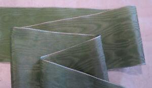 "3"" Wide German Moire Ribbon - Rayon - Sage Green Cool En éTé Et Chaud En Hiver"