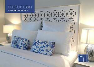 Image Is Loading Moroccan Timber Bedhead Headboard For Queen Ensemble White