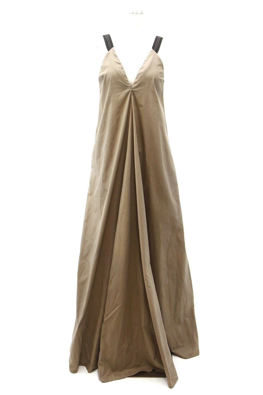 NWT 3695 Brunello Cucinelli Silk Strap Monili Beaded Khaki A-Line Gown Sz M A186