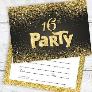 16th birthday invitations black and gold glitter effect with