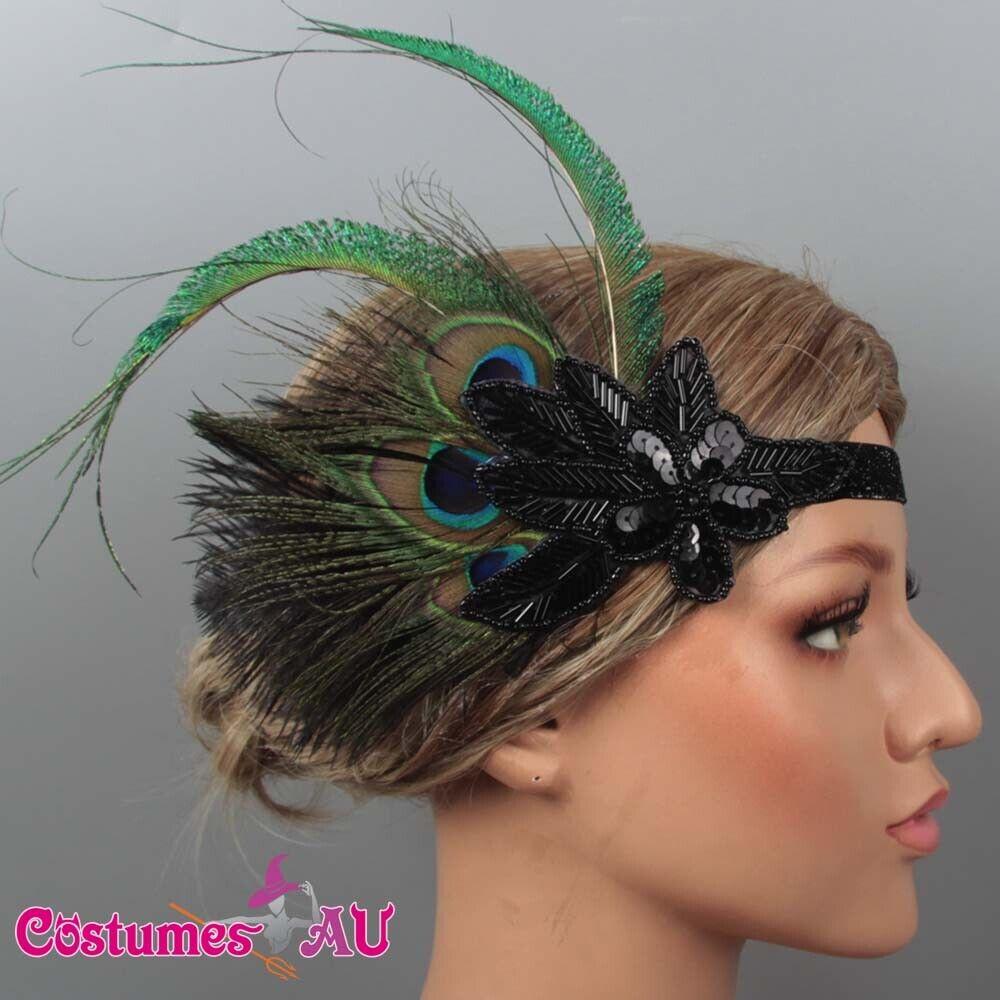 1920s Headband Feather Bridal Great Gatsby 20s Gangster Flapper Headpiece