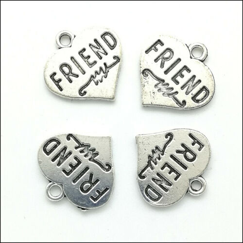 Lot 20//60pcs FRIEND Heart Antique Silver Charms Pendants Jewelry Making DIY