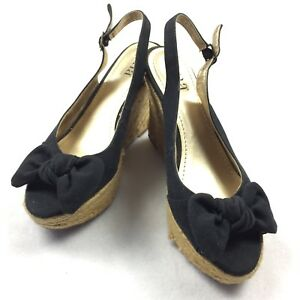2bd2c6031fae53 Details about ANA Wedges SIZE 7.5 Womens Black Rope Peep Toe Slingback Bow  Toe Sandals EUC