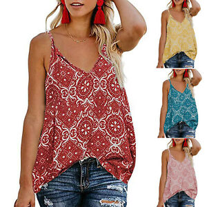 Women-Strappy-Floral-V-Neck-T-Shirt-Top-Summer-Boho-Beach-Loose-Tank-Vest-Blouse